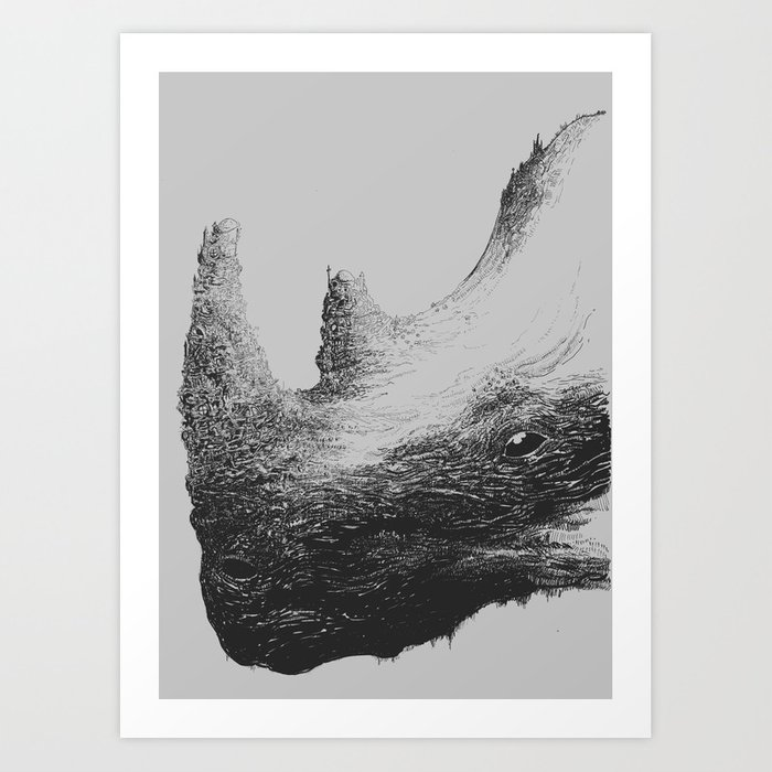 Rhinoceros Valley Art Print
