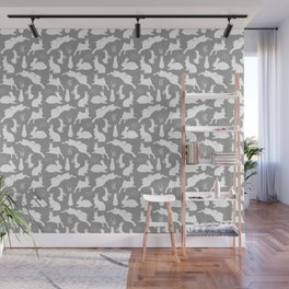 Rabbit Pattern | Rabbit Silhouettes | Bunny Rabbits | Bunnies | Hares | Grey and White | Wall Mural