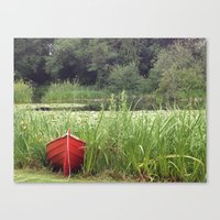 rowing Canvas Prints featuring Red Rowing Boat - iPhoneography by Paranoidfloyd