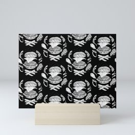 Burger Diagram (Black and White variant) Mini Art Print
