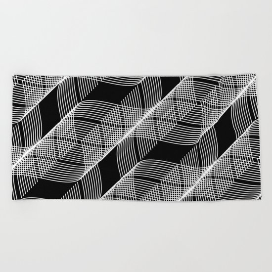 Black White Helix Beach Towel