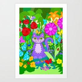 Cat in the Garden Butterflies Flowers Art Print