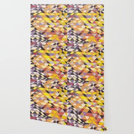 Triangle Pattern No.8 Black and Yellow Wallpaper