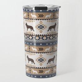 Boho dogs | German shepherd pattern tan Travel Mug
