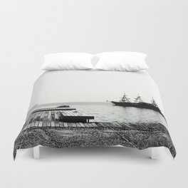 ships on a calm sea black and white Duvet Cover
