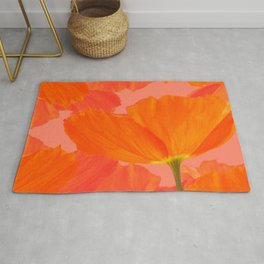 Beautiful Poppies Coral Color Background #decor #society6 #buyart Rug