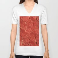 meat V-neck T-shirts featuring mEAT by Jevan Strudwick