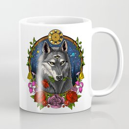 Psychedelic Wolf Trippy Moon Phases Coffee Mug