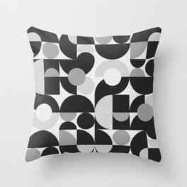 Mid Century Shapes N.09 / Monochrome Minimalism Throw Pillow
