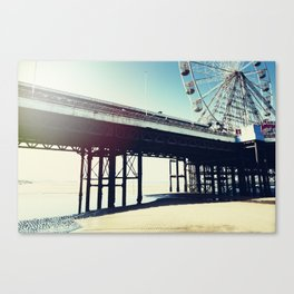 Ferris wheel and pier with light leak Canvas Print