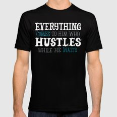 Hustle While You Wait SMALL Black Mens Fitted Tee