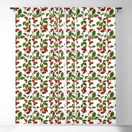 Vintage Botanical Cherries Print on White Blackout Curtain