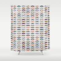 switzerland Shower Curtains featuring Mustache Mania by Bianca Green