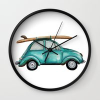 craftberrybush Wall Clocks featuring Turquoise summer time VW bug  by craftberrybush