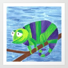 Green and Violet Chameleon Art Print
