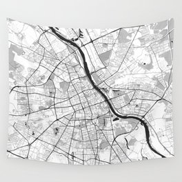 Warsaw Map Gray Wall Tapestry