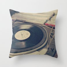 Vintage Turntable and Records  Throw Pillow