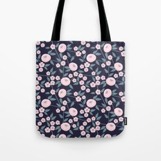 Little Flowers on Blue Tote Bag