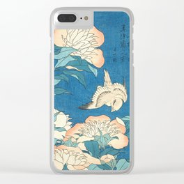 Japanese Flowers Turquoise Peach Clear iPhone Case