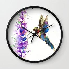 WATERCOLOR HUMMING BIRD Wall Clock