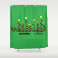 music notes Shower Curtains featuring Music notes garden by Picomodi