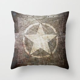 Army Star on Distressed Riveted Metal Door Throw Pillow