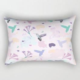 Hummingbird and flower pastel petal pattern Rectangular Pillow