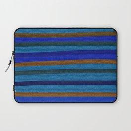 Denim Stripes in Blue, Tan, Cyan & Chocolate Laptop Sleeve