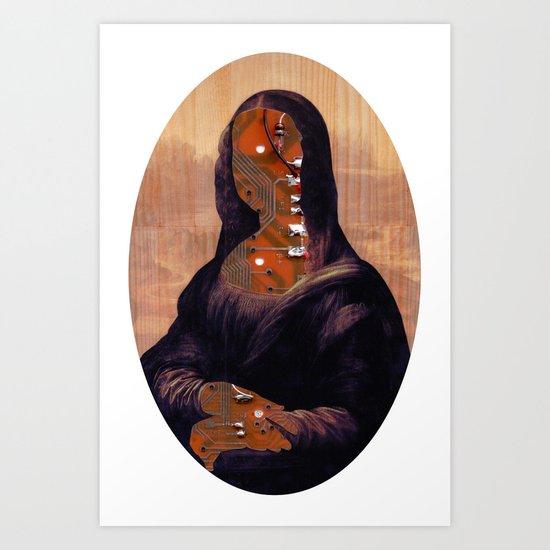Mona Lisa V1c Digitalface Oval Collage Art Print