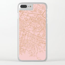 Pink Port au Prince map Clear iPhone Case