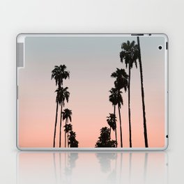 California Sunset // Palm Tree Silhouette Street View Orange and Blue Color Sky Beach Photography Laptop & iPad Skin