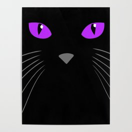 Black cat hiding in the shadows Poster