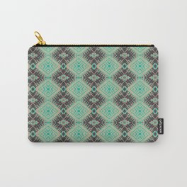 Subway Tracks Kaleidoscope Geometric Pattern - Mint Chocolate Colors Carry-All Pouch