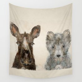 the little wolf and little moose Wall Tapestry