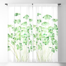 green clover leaf  watercolor arts 2021 Blackout Curtain