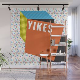 Bright Memphis Throwback Retro 1990s 80s Trendy Hipster Pattern Coral Wall Mural