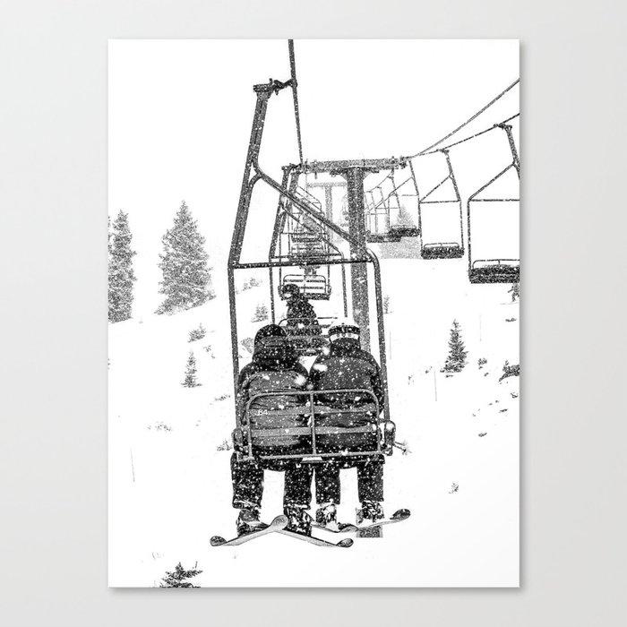 Snow Lift // Ski Chair Lift Colorado Mountains Black and White Snowboarding Vibes Photography Leinwanddruck