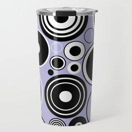 Geometric black and white circles on pastel blue Travel Mug