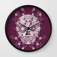 sugar skull Wall Clocks featuring Sugar Skull by Farnell
