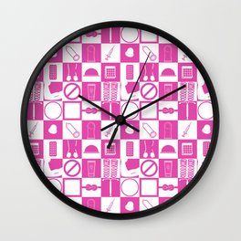 Contraception Pattern (Pink) Wall Clock