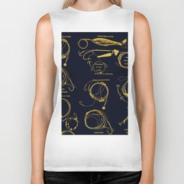 Maritime pattern- Gold fishing gear on darkblue background Biker Tank