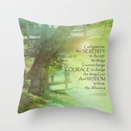 Serenity Prayer Trees, Water, Bridge Throw Pillow
