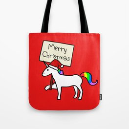 Merry Christmas Unicorn (Red Background) Tote Bag