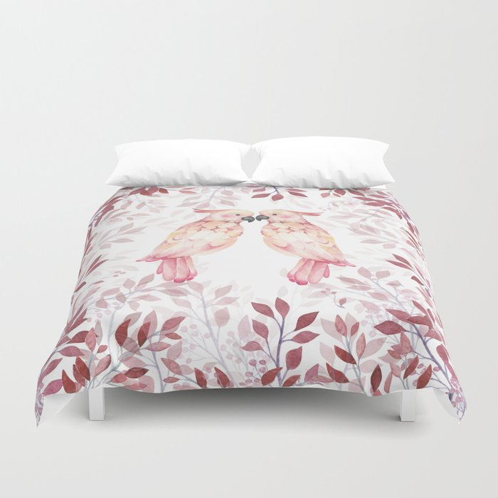 d1af1a370df00 Watercolor burgundy pink tropical cockatoo bird floral Duvet Cover by  pink_water | Society6