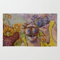 scuba Area & Throw Rugs featuring scuba dooba doo by jennaleemeyer