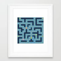 pacman Framed Art Prints featuring RETRO GAME by Vickn