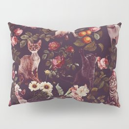 Cat and Floral Pattern Pillow Sham