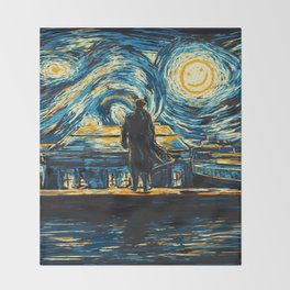 Starry Night Sherlock Holmes Art Painting Throw Blanket