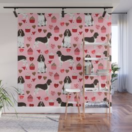 English Springer Spaniel love hearts valentines day gifts for dog person pet friendly pet portrait Wall Mural