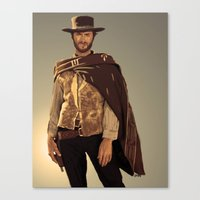 clint eastwood Canvas Prints featuring Clint Eastwood by Thousand Lines Ink